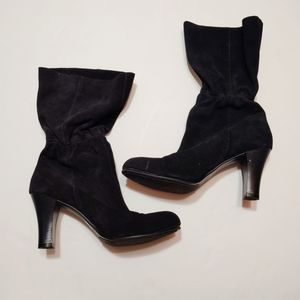 Mossimo Black Tall Faux Suede Heeled Boots 9.5